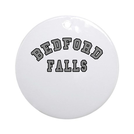 Bedford Falls Grey Lettering Ornament (Round)