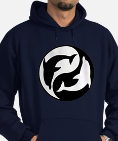 Black And White Yin Yang Dolphins Hoodie