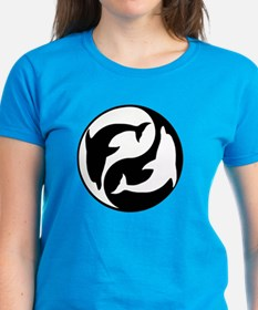 Black And White Yin Yang Dolphins T-Shirt