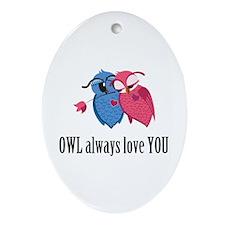 Romantic Owls Ornament (Oval)