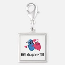 Romantic Owls Silver Square Charm