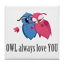 Romantic Owls Tile Coaster