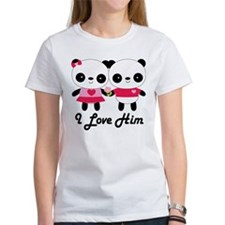 Panda Couple I Love Him Tee