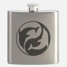 Black And White Yin Yang Dolphins Flask