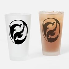 Black And White Yin Yang Dolphins Drinking Glass