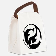 Black And White Yin Yang Dolphins Canvas Lunch Bag