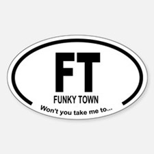 Car Oval Funky Town Decal