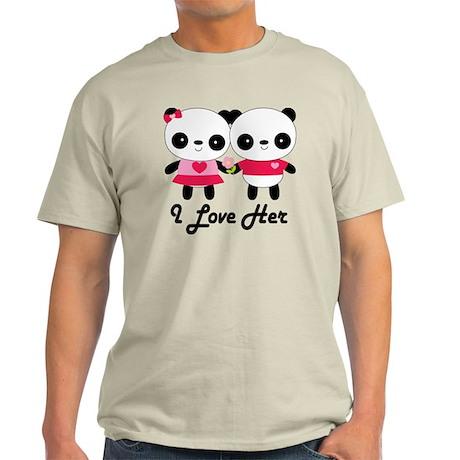 Panda Couple I Love Her Light T-Shirt