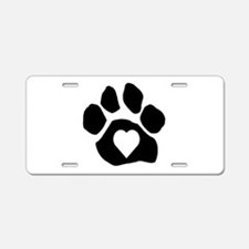 Heart In Paw Aluminum License Plate