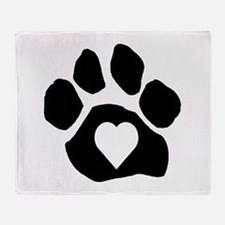 Heart In Paw Throw Blanket