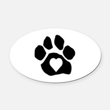 Heart In Paw Oval Car Magnet