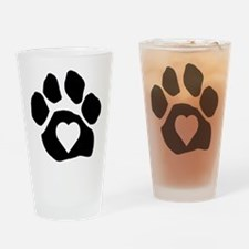 Heart In Paw Drinking Glass