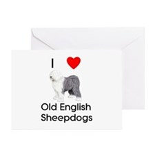 I Love Old English Sheepdogs (pic) Greeting Cards