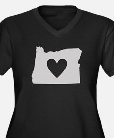 Heart Oregon Women's Plus Size V-Neck Dark T-Shirt