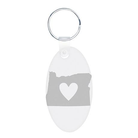 Heart Oregon Aluminum Oval Keychain