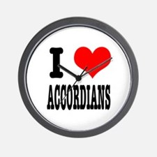 I Heart (Love) Accordians Wall Clock