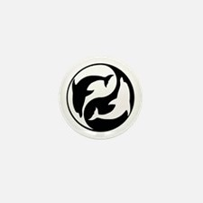 Black And White Yin Yang Dolphins Mini Button (10