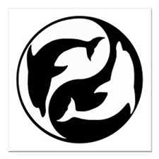 Black And White Yin Yang Dolphins Square Car Magne