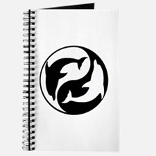 Black And White Yin Yang Dolphins Journal