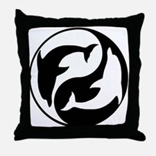 Black And White Yin Yang Dolphins Throw Pillow