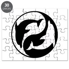 Black And White Yin Yang Dolphins Puzzle
