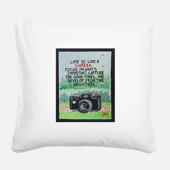""""""" LIFE is like a Camera """" / Sculpted Art Square Ca"""