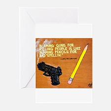 Guns Pencils / Sculpted Art Greeting Cards (Pk of