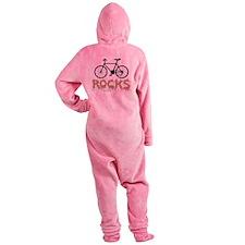 Bicycle Rocks Text Footed Pajamas