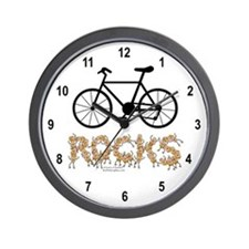 Bicycle Rocks Text Wall Clock