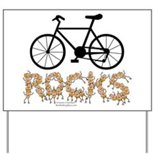 Bicycle Rocks Text Yard Sign