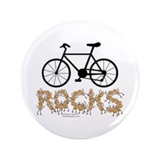 """Bicycle Rocks Text 3.5"""" Button"""