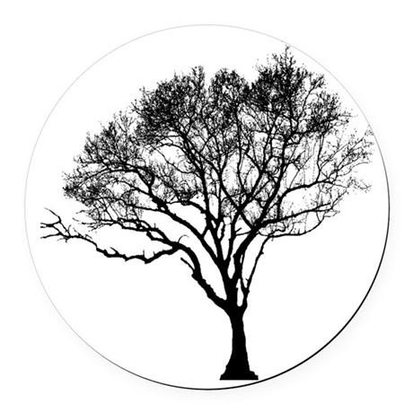 tree black 4 shirt.png Round Car Magnet