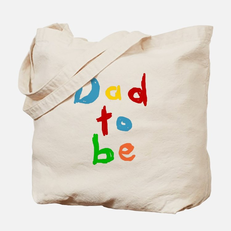 Primary Color Text Dad To Be Tote Bag