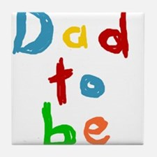 Primary Color Text Dad To Be Tile Coaster