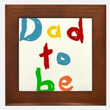 Primary Color Text Dad To Be Framed Tile