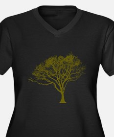 Tree (green) Women's Plus Size V-Neck Dark T-Shirt