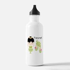 Black Hair Girl Dancer Water Bottle