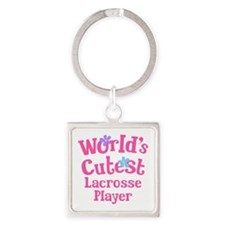 Cutest Lacrosse Player Square Keychain