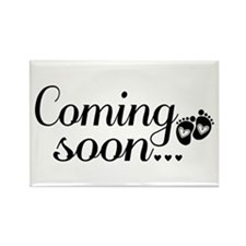 Coming Soon - Baby Footprints Rectangle Magnet