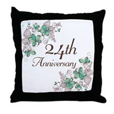 24th Anniversary Floral Throw Pillow