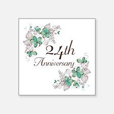 """24th Anniversary Floral Square Sticker 3"""" x 3"""""""