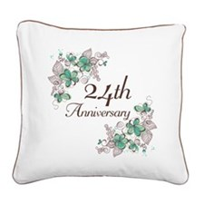 24th Anniversary Floral Square Canvas Pillow