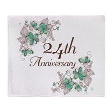 24th Anniversary Floral Throw Blanket