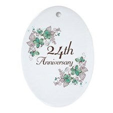 24th Anniversary Floral Ornament (Oval)