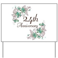 24th Anniversary Floral Yard Sign