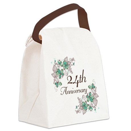 24th Anniversary Floral Canvas Lunch Bag