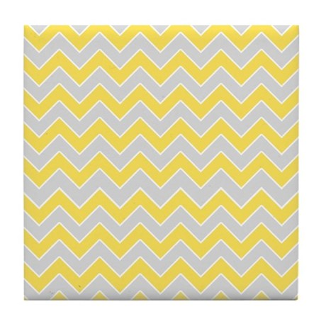 Chevron Pattern Grey and Yellow Zigzags Tile Coast by ...
