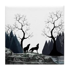 Howling wolves Tile Coaster