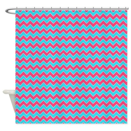Chevron Pattern Aqua Blue And Pink Shower Curtain By Cutetoboot