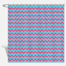 Chevron Pattern Aqua Blue and Pink Shower Curtain